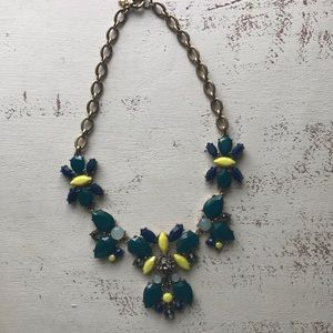 J Crew necklace blue teal & yellow